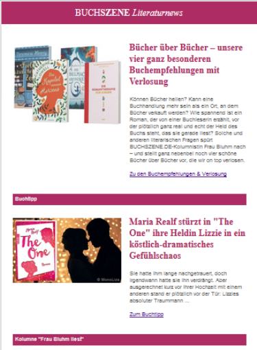 BUCHSZENE Newsletter August